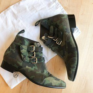 Tabitha Simmons Early Camouflage Suede Booties